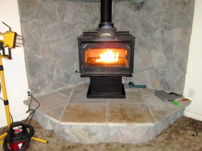 propane pot belly conversion to fireglass fireplace