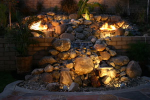 outdoor custom fire and water waterfall fountain 23