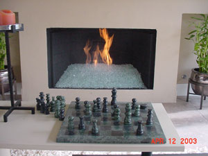 modern fireplace using fire rocks