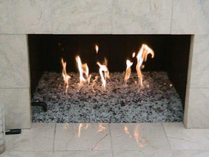 fireplace ideas using fire glass stones