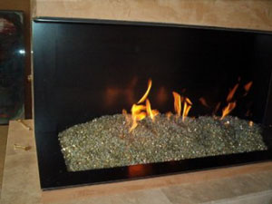 fire glass custom fireplace