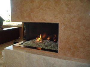 fireplace with glass stones