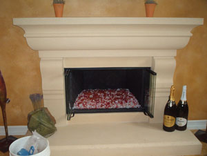 fireplace with red fireglass