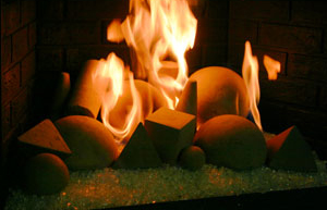 Concrete Fireballs for the fireplace
